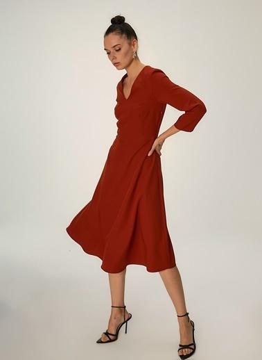 NGSTYLE Kloş Etekli Midi Elbise Kiremit